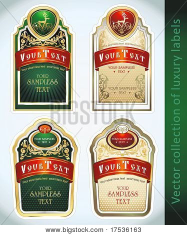Vintage Labels Collection for a product_4. Sticker template with design elements Set of golden vector illustration tags.