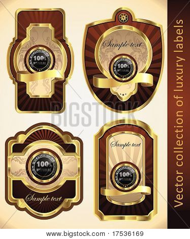 Vintage Labels Collection for a product_1. Sticker template with design elements. Set of chocolate golden vector illustration tags.