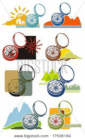 Compass vector Icons for Web. Construction or tourism concept. Abstract color element set of templates. Collection 2.