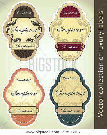Vintage Labels Collection for a product_8. Sticker template with design elements. Set of decoration vector illustration tags.