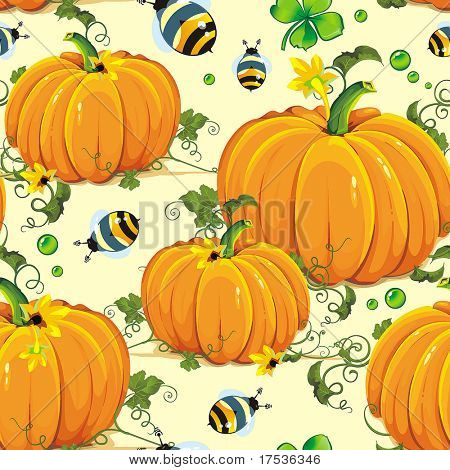 Stylish beautiful bright floral seamless pattern with pumpkin and bee, vector elegance autumn background. Flower illustration decoration texture. Repeat many times.