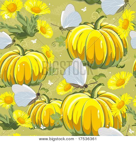 Elegance Seamless pattern with autumn yellow pumpkin and butterflies on floral background, vector illustration