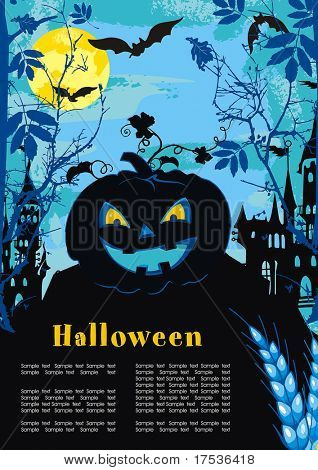Halloween terrible Vector background with Place for your text. Abstract Classical autumn card with pumpkin and castle.