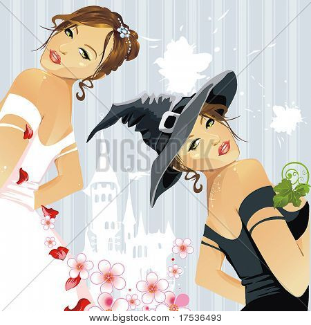 Beautiful Angel and Devil woman standing bend over. A vector illustration.