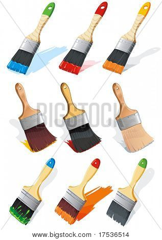 Paintbrush brushing paint. Vector Illustration. Stylish bright vector illustration of painting brushes.