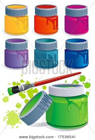 Seven plastic Jars with colored gouache and paintbrush, isolated on white background. Paint buckets and brush. Stylish Vector Illustration.
