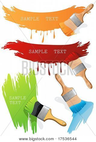 Isolated flat brush leaving a horizontal and vertical trail of green, red and orange paint over a white wall. Paint Brush. Stylish bright Vector Illustration.