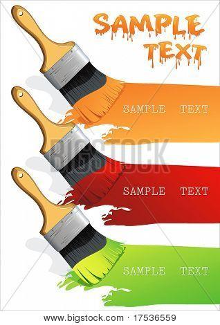 Pinsel auf ein Blatt Papier zeichnen 3 Farben. Isolierte Flachpinsel eine horizontale Strecke verlassen. Pinsel