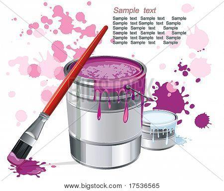 Kann der Magenta-Farbe und professionelle Pinsel Farbe Flecken. Stilvolle helle Abbildung der Malerei