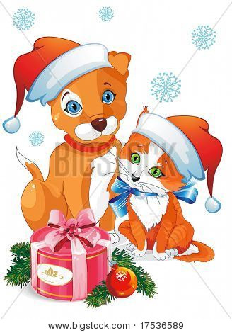 A cute cartoon dog and cat. Puppy and Kitten in hat as Santa Claus. Clipart vector illustration.