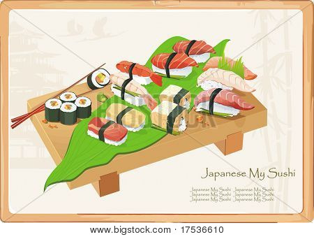 Maki and sashimi sushi on wooden plate with sticks. Seafood set, vector illustration and other traditional Japanese food.