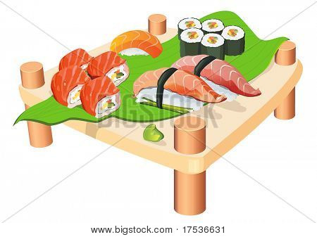 Sushi on a wooden plate isolated on white background. Seafood set, vector illustration and other traditional Japanese food.