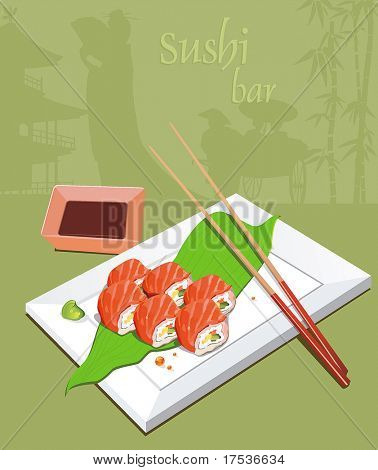 Maki Sushi - Roll made of Fresh Salmon outside. Seafood set of sashimi on rectangular white plate - traditional Japanese food with chop sticks, vector illustration.