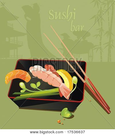 Japanese prawn noodles Miso soup with dumpling. Seafood set - traditional Japanese food serve with chopsticks, vector illustration.