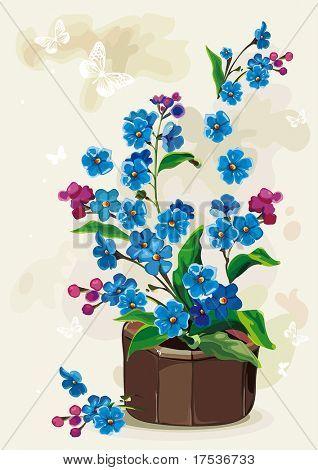 Nomeolvides de flores en una olla sobre fondo claro, Ilustración de vector retro elegancia.