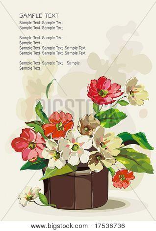 Flowers in a pot on light background, Elegance retro vector illustration.