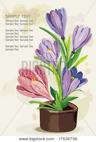 Blue flowers in a brown pot on light background, Elegance retro vector illustration.
