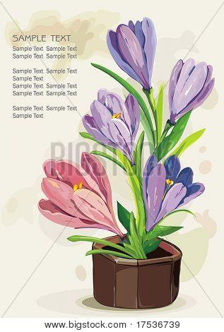 Blue flowers in a brown pot on light background, Elegance retro vector illustration.