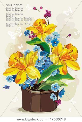 Colored flowers in a ceramic pot on light background, Elegance retro vector illustration.