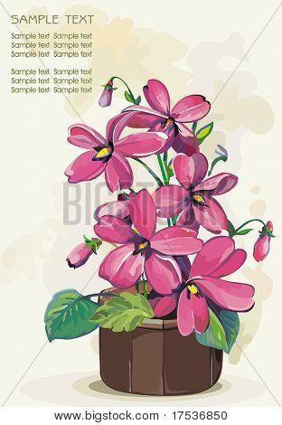 Pink flower in a pot on light background, Elegance retro vector illustration.