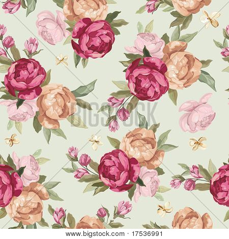 Beautiful Seamless color peony pattern on green background, vector illustration