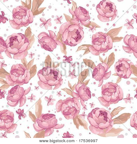 Elegance Seamless pink peony pattern on white background, vector illustration