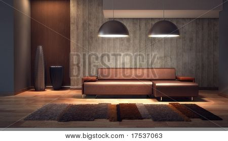 luxury lounge room with couch, 3d render