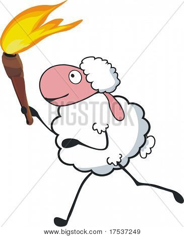 sheep carrying torch