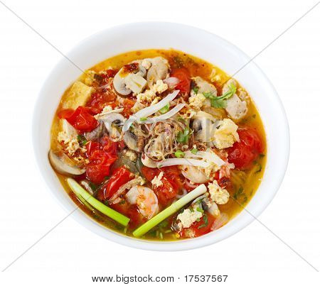 Rice Vermicelli Seafood Soup