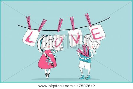 love cards hanging from clothesline