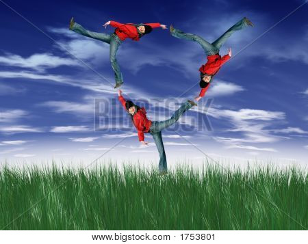 Happy Young Girls Flying In Circle