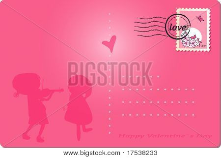 happy valentine`s day post card