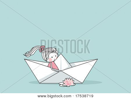 little girl in paper boat