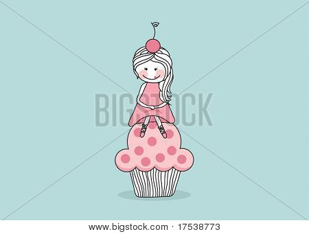 girl sitting on giant cupcake