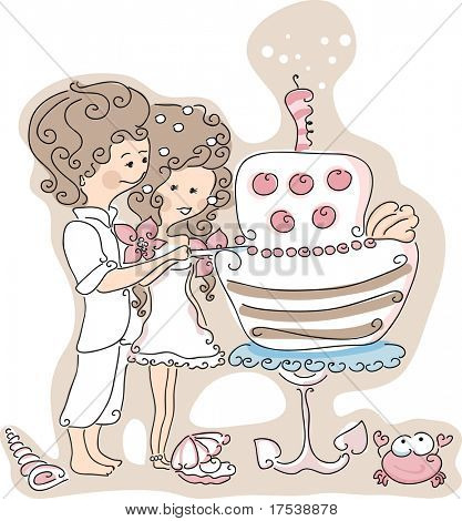 beach wedding set - couple cutting the wedding cake