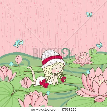 girl lying on a water lily leaf