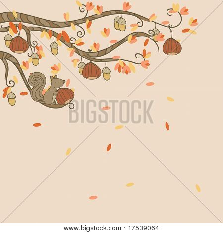 autumn card with branch and squirrel