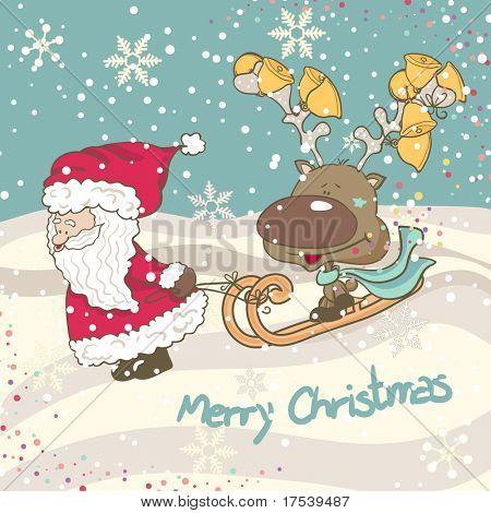 Santa y renos trineo