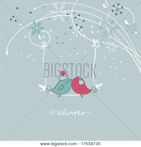 Winter-Card mit Vogel auf einem sviwng