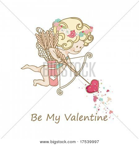 little cupid is ready to shoot love arrow