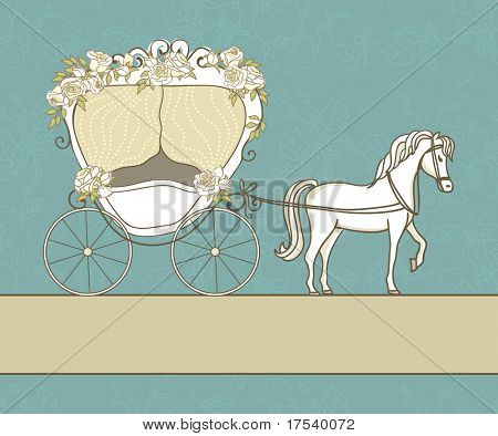 vintage card with carriage and horse