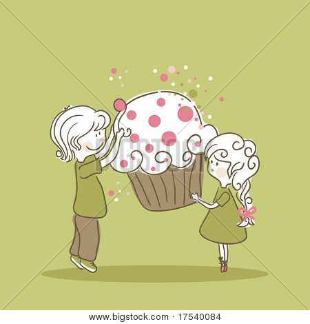 boy and girl with cupcake