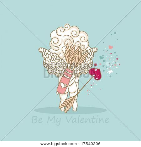be my valentine card with cupid