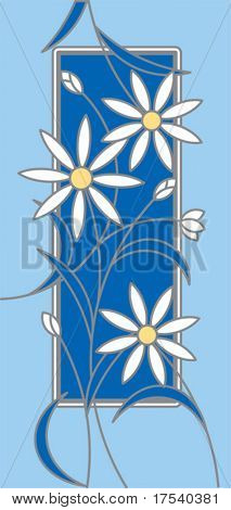 Vector card with white flowers on a blue ground