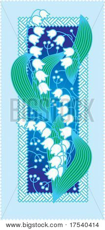Vector card with a lily of the valley
