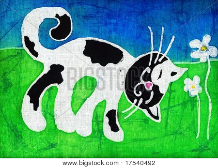 Image of my artwork with a spotty cat