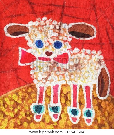 Image of my artwork with a lamb on red