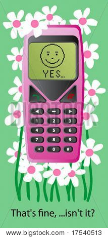 Vector card with a rose cellphone