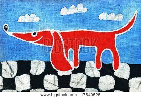 Imagen de mi obra de arte con un perro rojo sobre un suelo ajedrezado