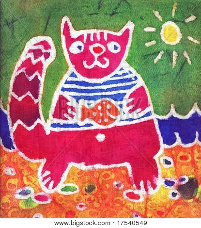 Image of my artwork with a crimson cat with fish